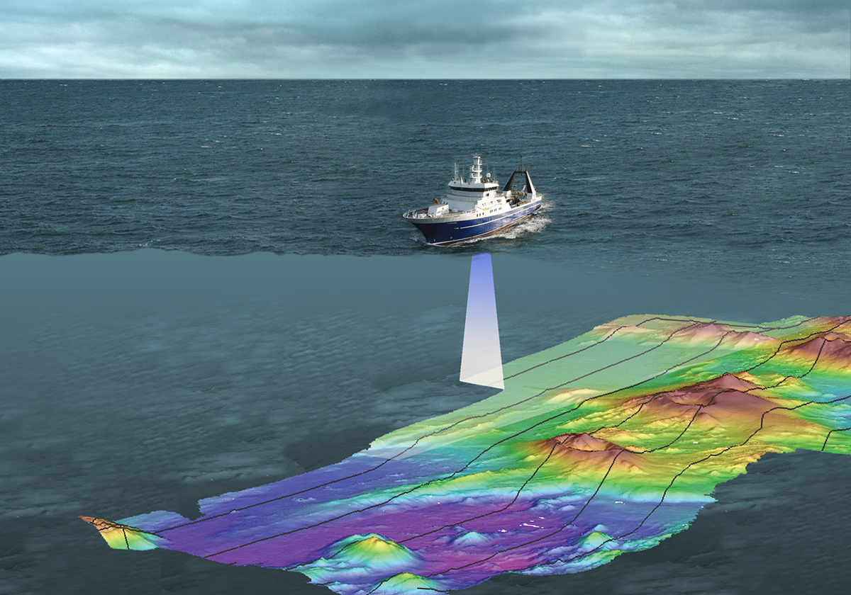 Composite image of a boat mapping the sea floor