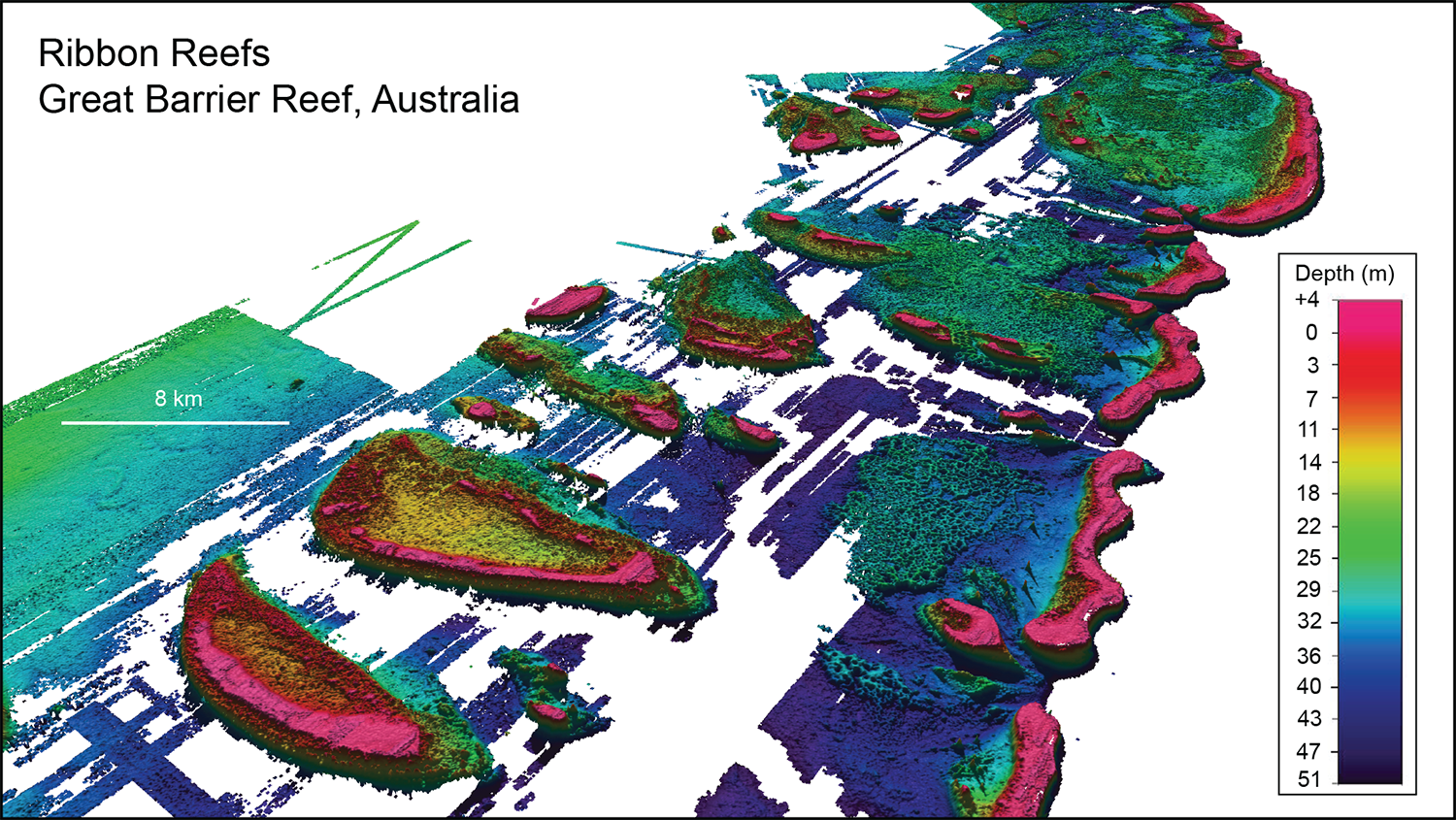 Lidar mapped Ribbon Reefs in the northern Great Barrier Reef, Australia. The gaps in data coverage are inter-reefal areas where seabed depths lie greater than about 50 m, the limits of laser penetration into the water column. Grid pixel resolution is 25 m. Total grid distance is about 110 km