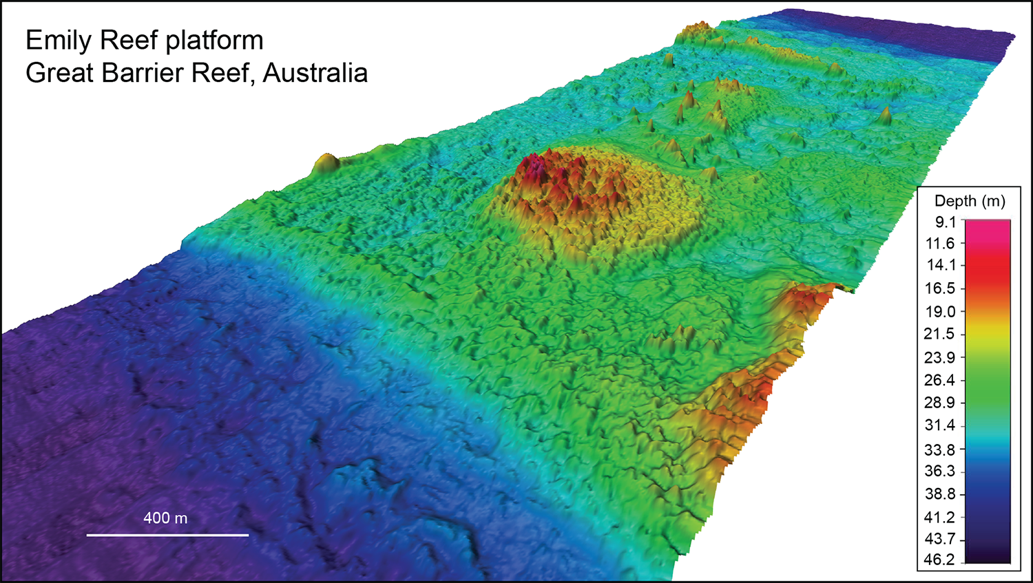 An example of a multibeam swathe mapping survey over Emily Reef, a broad coral reef platform on the northern Great Barrier Reef, Australia. Grid pixel resolution is 5 m. Total grid distance is about 8 km